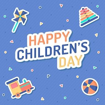 Journée des enfants au design plat