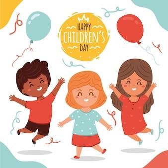 Journée des enfants design dessiné à la main