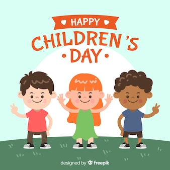Journée des enfants dessinés à la main fond