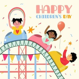 Journée Des Enfants Dessinés à La Main Sur Des Montagnes Russes Vecteur Premium