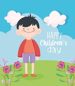 Journée des enfants heureux, mignon petit garçon dans la prairie avec des fleurs vector illustration