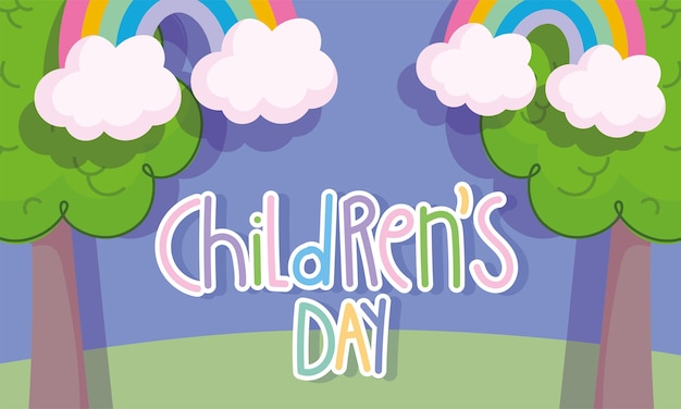 Journée des enfants, nuages d'arbres de texte dessinés à la main et illustration vectorielle de dessin animé arc-en-ciel