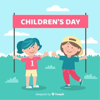 Journée des enfants plats avec fond d'enfants
