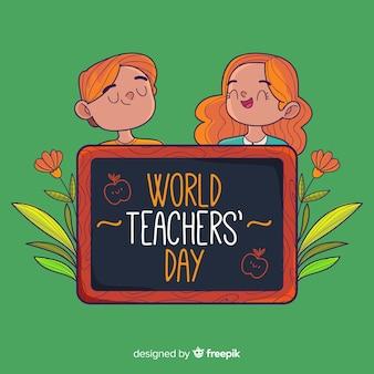 Journée de l'enseignant avec couple et tableau noir