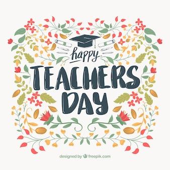 Journée de l'enseignant, fond floral