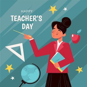 Journée des enseignants dessinés à la main avec une femme