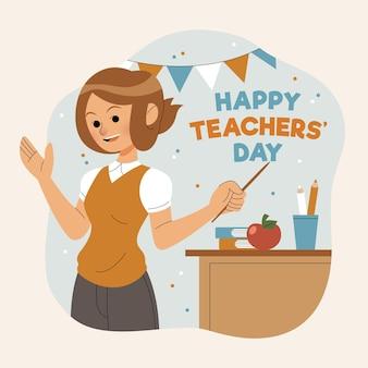 Journée des enseignants dessinés à la main