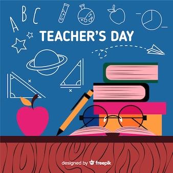 Journée des enseignants du monde plat avec une pile de livres
