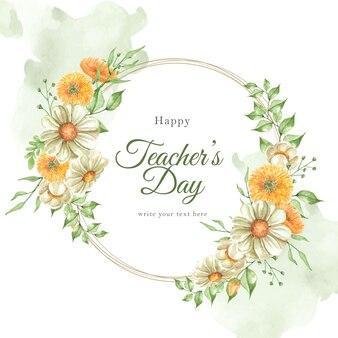 Journée des enseignants avec fond d'aquarelle de fleurs d'oranger de couronne
