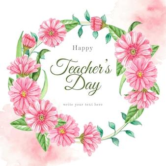 Journée des enseignants avec fond d'aquarelle de fleurs roses de couronne de fleurs