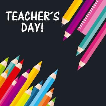 Journée des enseignants salutation crayon couleurs souverain sur fond noir