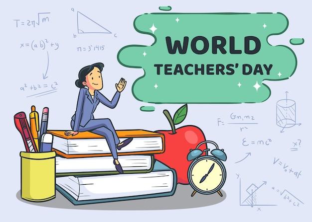 Journée des enseignants de style dessiné à la main