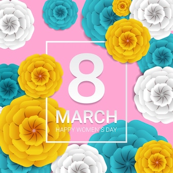 Journée de la femme 8 mars célébration de vacances bannière flyer ou carte de voeux avec des fleurs en papier décoratif illustration de rendu 3d