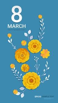 Journée de la femme 8 mars célébration de vacances bannière flyer ou carte de voeux avec des fleurs en papier décoratif rendu 3d illustration verticale
