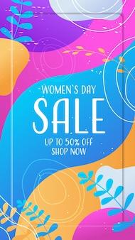 Journée de la femme 8 mars célébration de vacances flyer vibrant ou carte de voeux avec feuilles décoratives et illustration verticale de textures dessinées à la main