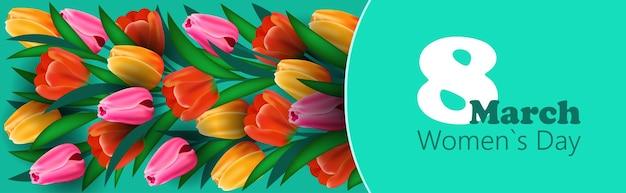 Journée de la femme 8 mars célébration de vacances lettrage flyer bannière ou carte de voeux avec illustration horizontale de fleurs