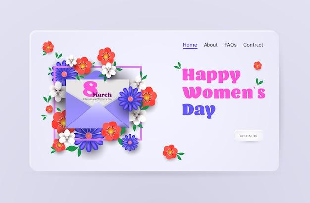 Journée de la femme 8 mars célébration de vacances vente bannière flyer ou carte de voeux avec enveloppe et fleurs illustration horizontale