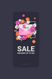 Journée de la femme 8 mars célébration de vacances vente bannière flyer ou carte de voeux avec enveloppe et fleurs illustration verticale