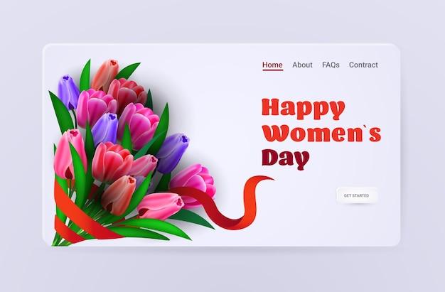 Journée de la femme 8 mars célébration de vacances vente bannière flyer ou carte de voeux avec des fleurs et huit numéro illustration horizontale