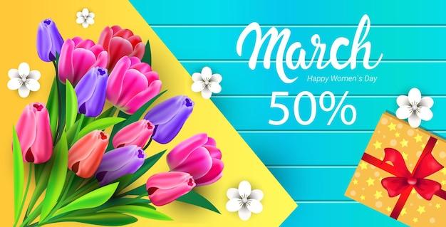 Journée de la femme 8 mars célébration de vacances vente bannière flyer ou carte de voeux avec des fleurs et illustration horizontale de coffret cadeau