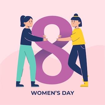 Journée de la femme au design plat avec des femmes tenant le numéro huit