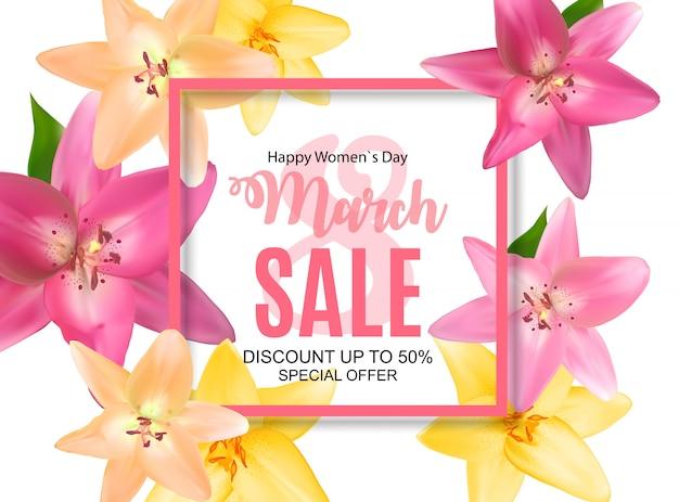 Journée de la femme, bannière de vente du 8 mars, design printanier avec fleur