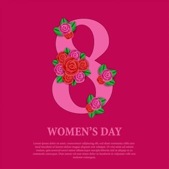 Journée de la femme avec bouquet de fleurs roses