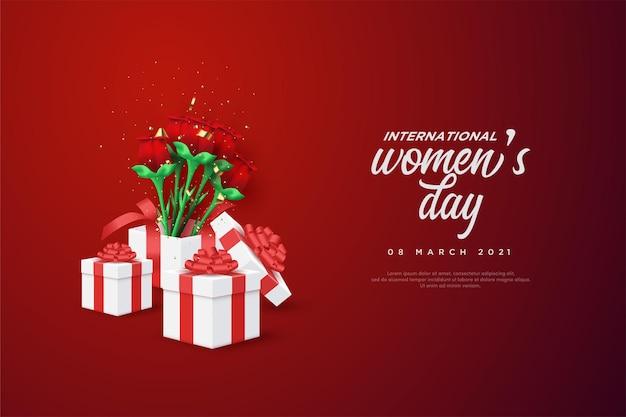 Journée de la femme avec coffrets cadeaux et roses rouges.