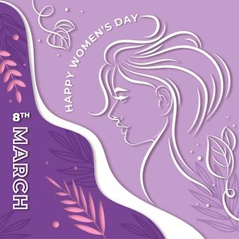 Journée de la femme dans le papier peint de style papier