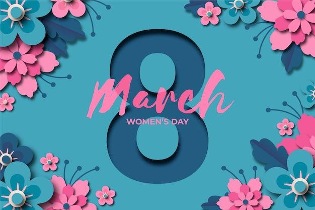 Journée de la femme dans un style papier avec date