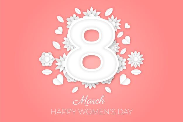 Journée de la femme dans un style papier avec des fleurs