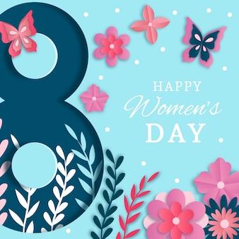 Journée de la femme dans un style papier avec des papillons