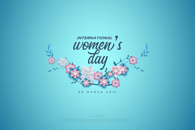 Journée de la femme écrite sur les fleurs.