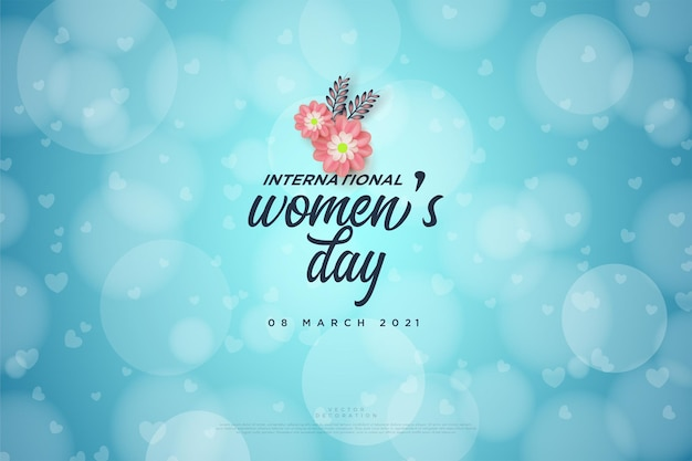 Journée de la femme avec écriture et fleurs roses sur fond de bokeh.