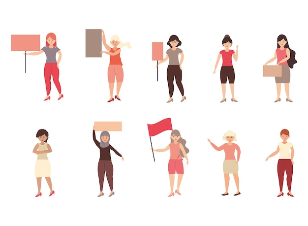 Journée de la femme, femme tenant une pancarte ou des bannières, des signes sur une illustration de protestation