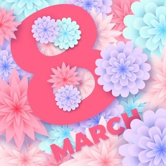 Journée de la femme avec des fleurs au design plat