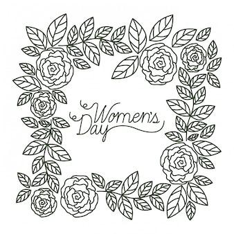 Journée de la femme avec icône isolé cadre roses