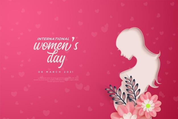 Journée de la femme avec une illustration de dame en papier découpé et fleurs roses.
