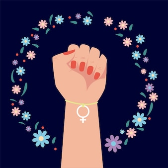 Journée de la femme, la main vers le haut du sexe féminin bracelet charme illustration de décoration florale