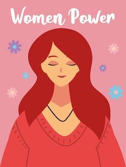 Journée de la femme, personnage de femme portrait et illustration de fond de fleurs