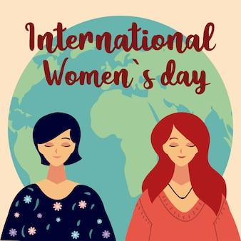 Journée de la femme, portrait de personnages féminins et monde en illustration de style dessin animé