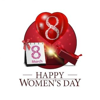 Journée de la femme ronde bannière avec cadeau et ballon
