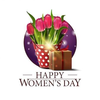 Journée de la femme ronde bannière avec seau avec tulipes et cadeau