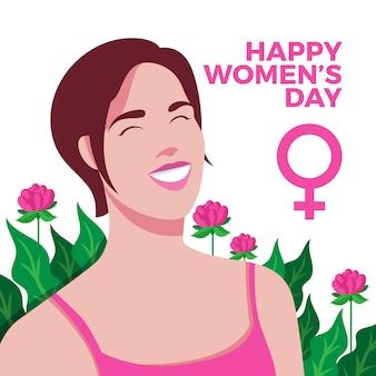 Journée de la femme avec symbole et feuilles