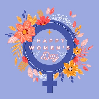 Journée de la femme avec symbole et fleurs