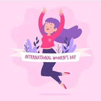 Journée des femmes dessinées à la main avec des fleurs