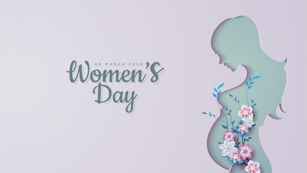 Journée des femmes de formes de femmes enceintes avec des fleurs colorées.