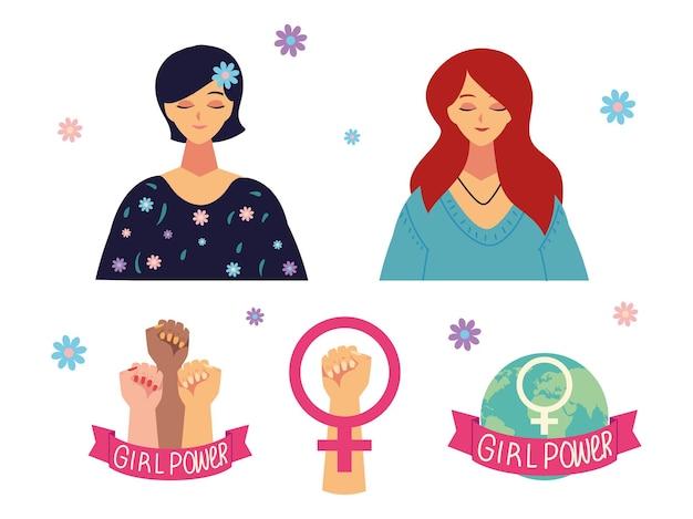 Journée des femmes, personnage de portrait sexe féminin de dessin animé et mains levées illustration de puissance de fille