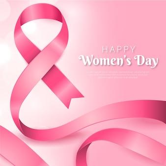 Journée des femmes ruban rose réaliste