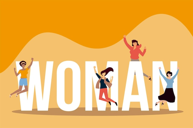 Journée des femmes, sauter les jeunes filles célébrant avec une grande illustration de lettrage